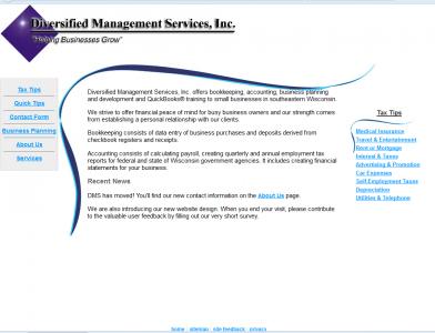 DMS website, circa 2010